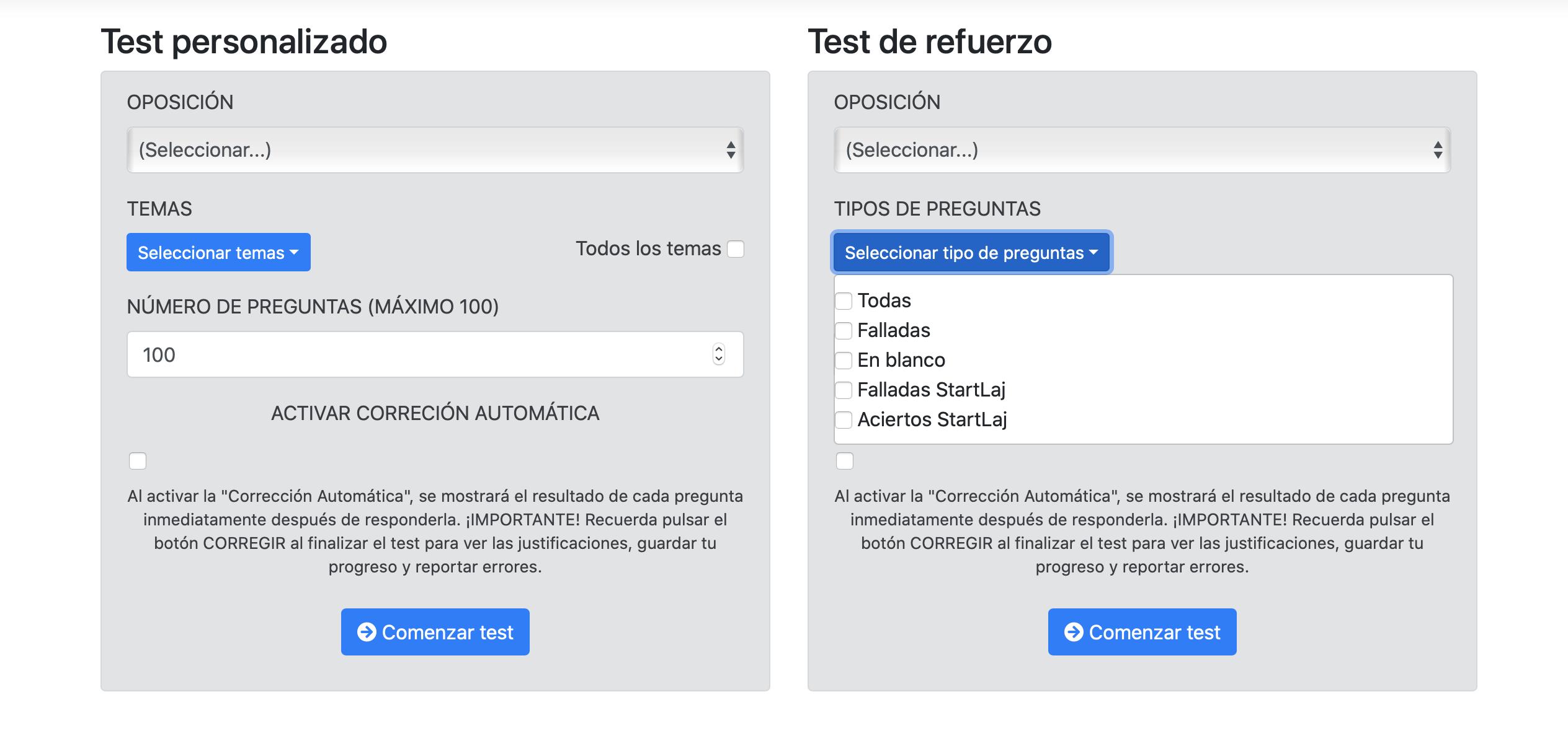 plataforma online test justicia